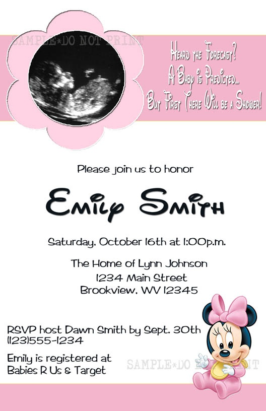 DIY PRINTABLE - Baby Minnie Mouse Ultrasound Shower Invitations $12.00