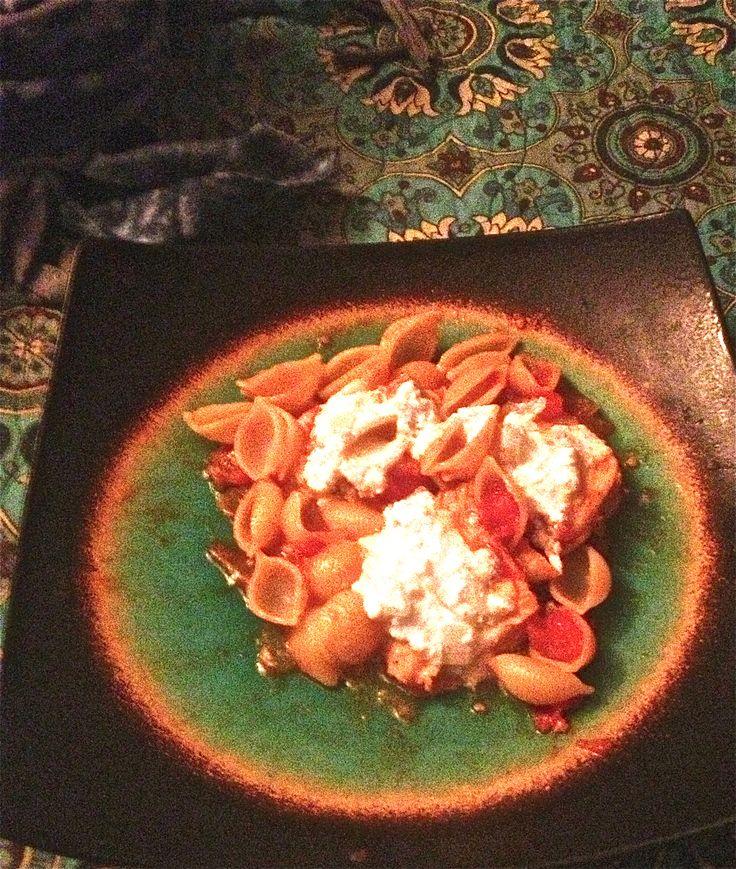 """& tomato sauce pasta. For the """"ricotta"""": white wine, onion, gar..."""