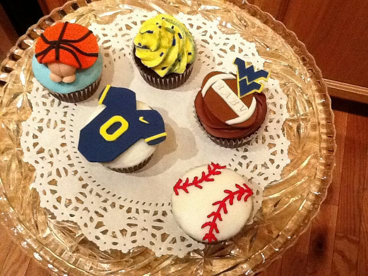 WVU baby shower cupcakes #WVU #flyingWV #sportscupcakes #basketball # ...