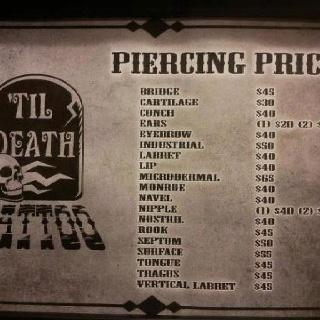 Till Death Tattoo  Piercing Prices Unique Stuff/what Im Into P