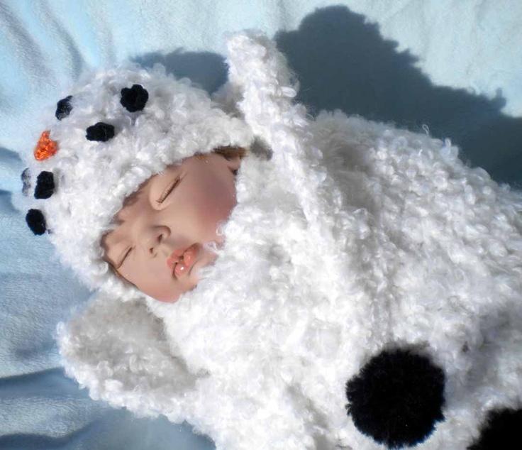 Crochet Snowman Baby Cocoon Pattern : Crochet Snowman Cocoon w Matching Hat Scarf Newborn 0 3 mo
