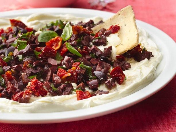Kalamata Olives and Sun-Dried Tomatoes on Cream Cheese | Recipe