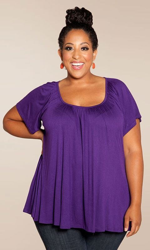 to top for any occasion. Shirred, flowing fabric conceals your tummy