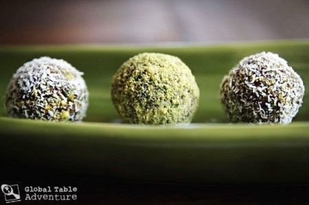 Date & raw coconut and pistachio bon bons. Really good too rolled in ...
