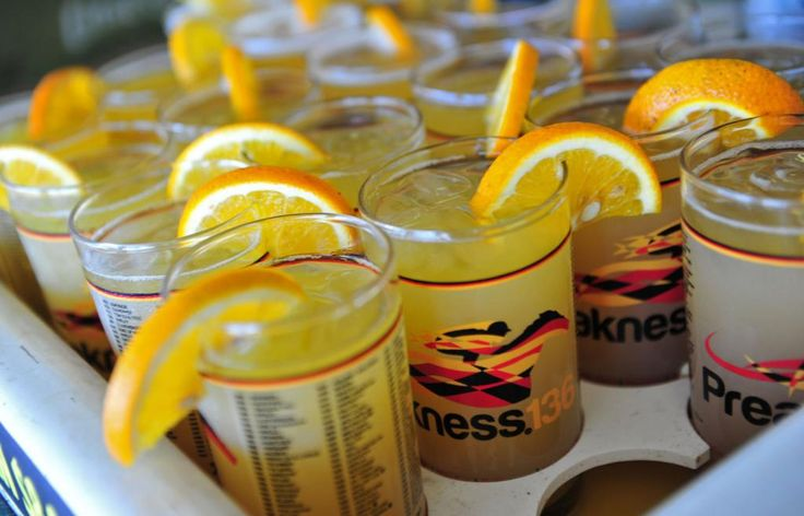 The signature Preakness drink, the Black Eyed Susan, is seen at ...