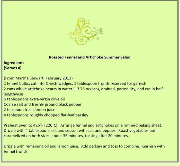 Roasted Fennel and Artichoke Summer Salad