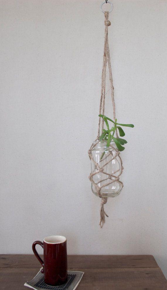 Glass Jar Hanging Planter Medium by HenrysCottage on Etsy, $10.00