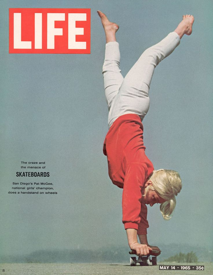 """Skating above, 19 year-old California girl Patti McGee, who was the first National Girls' Skateboarding Champion in 1965 and the first female pro skateboarder. She was sponsored by Hobie (owned by the orange juice company Vita Pak) and appeared on the cover of Life Magazine. Patti actually started out as a surfer in San Diego but took up skateboarding when it became popular in the mid-sixties (Life actually called it a """"craze"""")."""