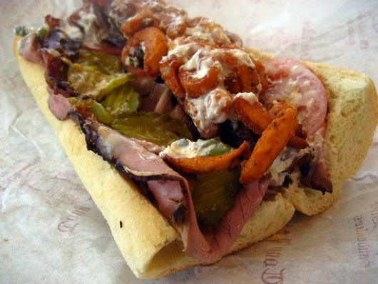 Luke's Beefbuster: Roast beef topped with tomatoes, onions, pickle ...