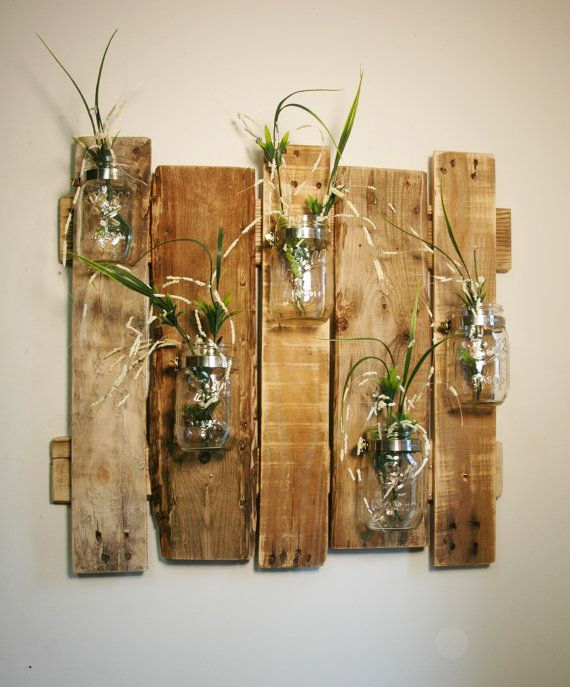 Mason Jar Wall Decor How To : Unique large wall piece with clear mason jars decor
