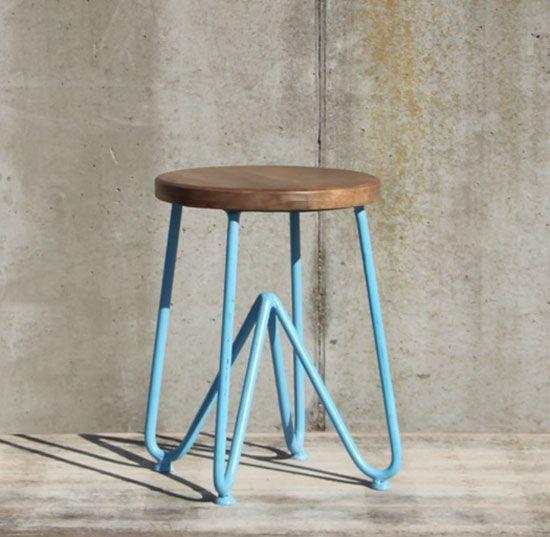wohnzimmer holz design:DESIGN Sitzhocker aus Metall & Holz Hocker Wohnzimmer Möbel