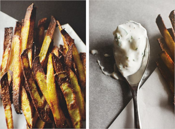 curry spiced pomme frites + cucumber dip • the sprouted kitchen