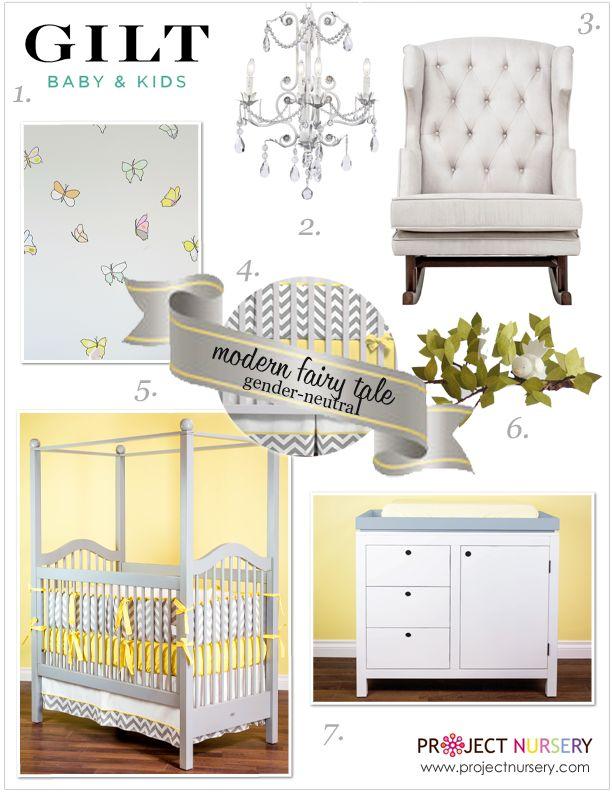 "Project Nursery's ""Modern Fairy Tale"" Design Board. Fit for a Prince or Princess. #baby #nursery #gilt"