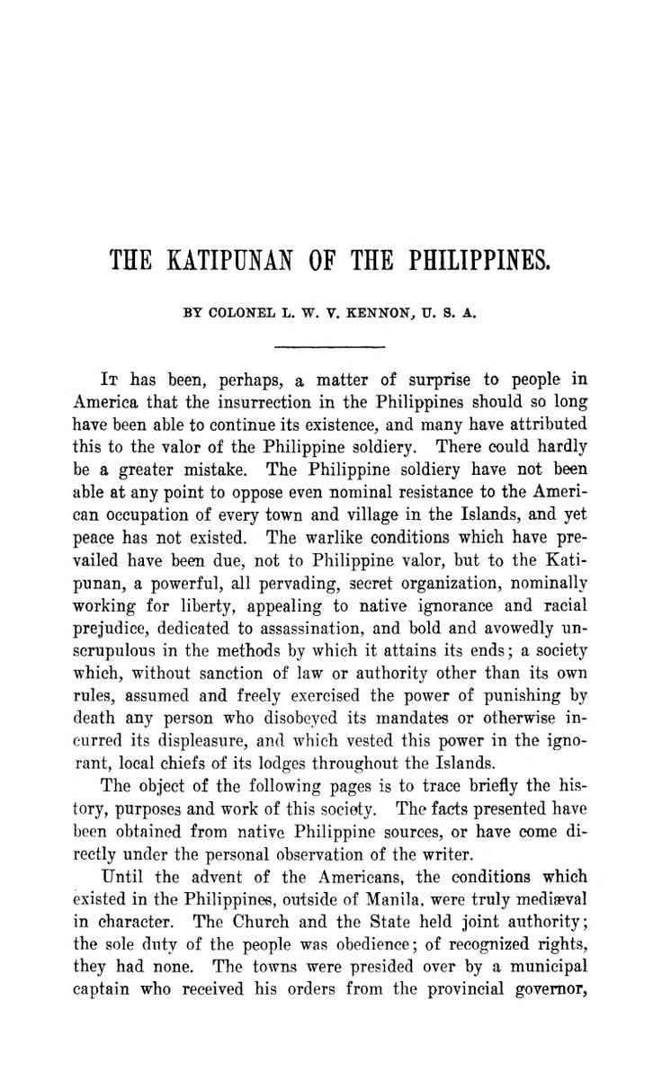 The Katipunan of the Philippines Kennon, L. W. V. https://archive.org