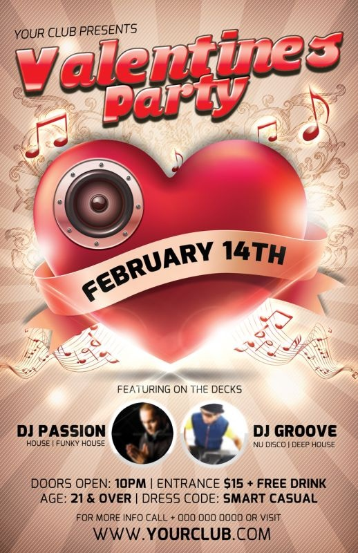 valentine's day flyers psd