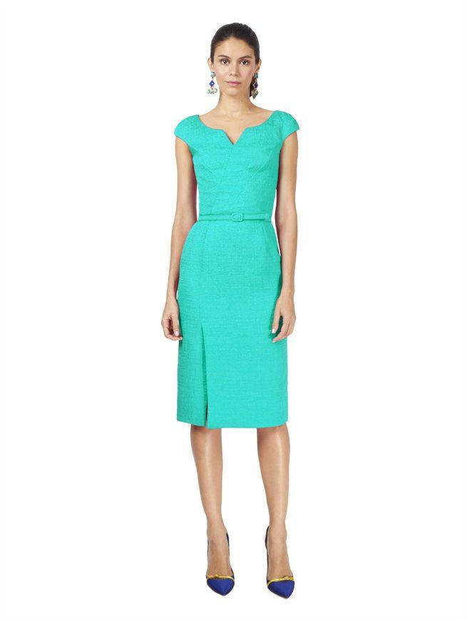 CAP SLEEVE PENCIL DRESS WITH SELF BELT Oscar de la Renta
