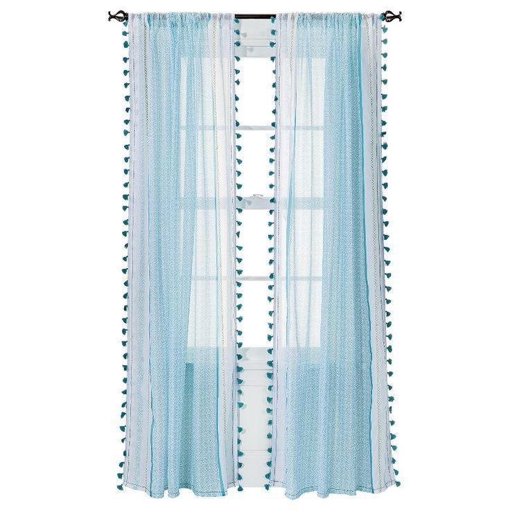 """Xhilaration® Tasseled Print Sheer Curtain Panel - Turquoise (50x84"""")"""