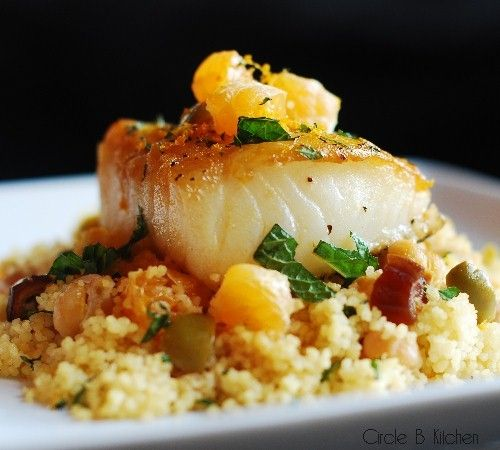 Perfectly pan-roasted sea bass and couscous with clementines, olives ...