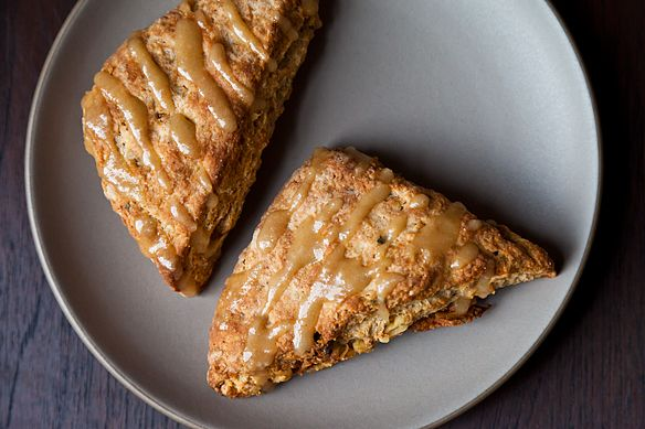 Walnut Sage Scones with Brown Butter Maple Glaze | Recipe