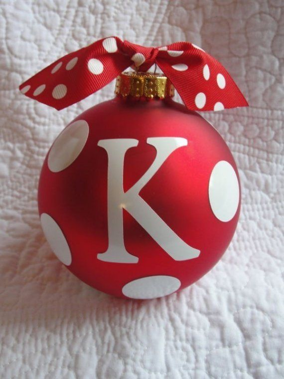 Personalized christmas ornament red with white polka dots for Customized photo christmas ornaments