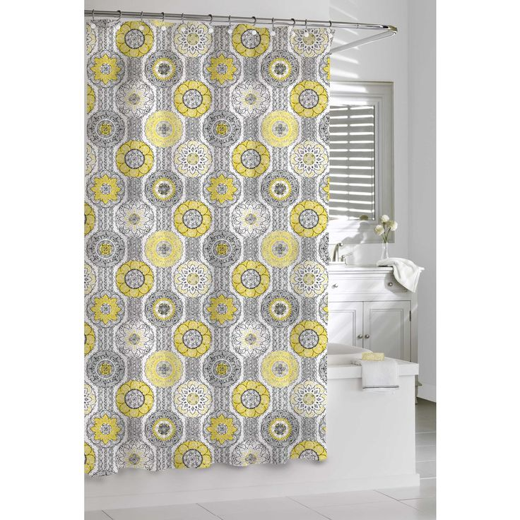 How To Make Tab Curtains Yellow and Navy Shower Curtain
