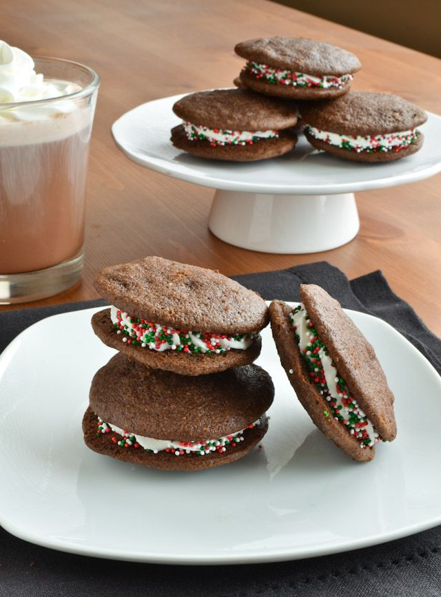 Dark Chocolate Chip Holiday Mint Whoopie Pies - She Bakes Here http ...