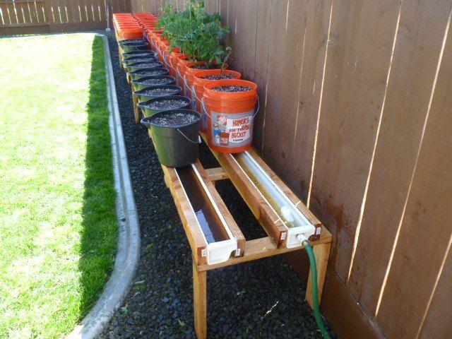 Self watering rain gutter system garden pinterest - Self watering container gardening system ...