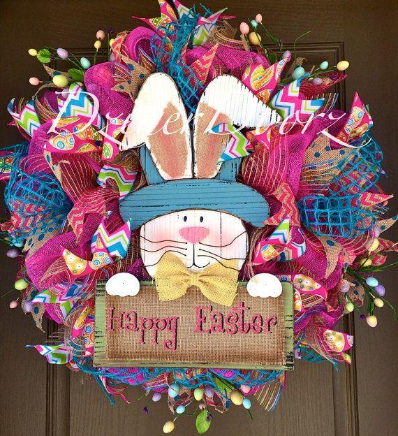 Happy Easter Bunny deco mesh Wreath by DzinerDoorz on Etsy, $135.00