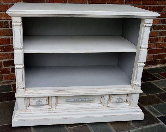 Painted Small Media Console Tv Cabinet Bookcase