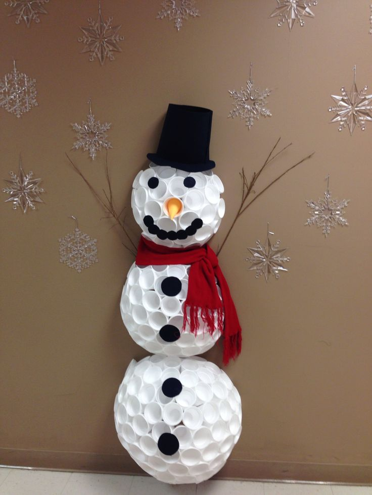 Styrofoam cup snowman school ideas pinterest for Cup snowman