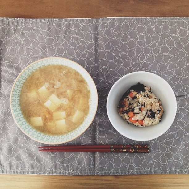 breakfast: tofu, kabocha, onion miso w/ iriko fish broth & kayaku ...