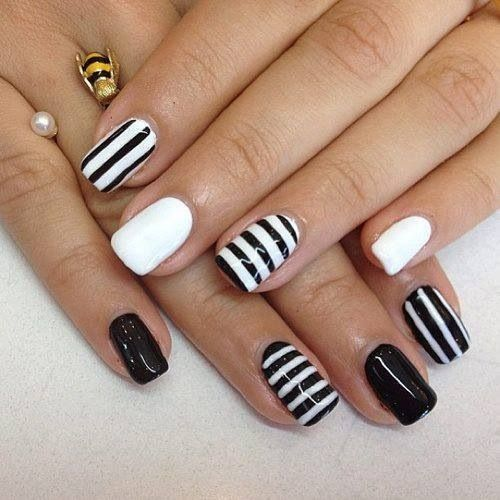 cute black/white striped nails with solid accent  nails