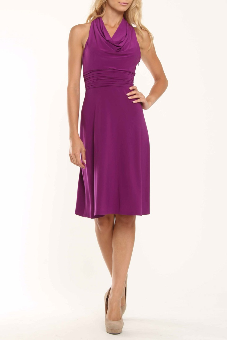 Evan Picone Cowl Neck Dress In Violet