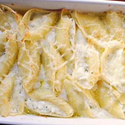 Three Cheese Stuffed Shells With Creamy White Sauce Recipes ...