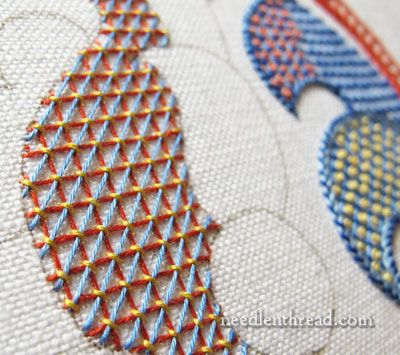 Lattice Filling Stitches on an embroidery sampler from the fabulous Mary Corbet