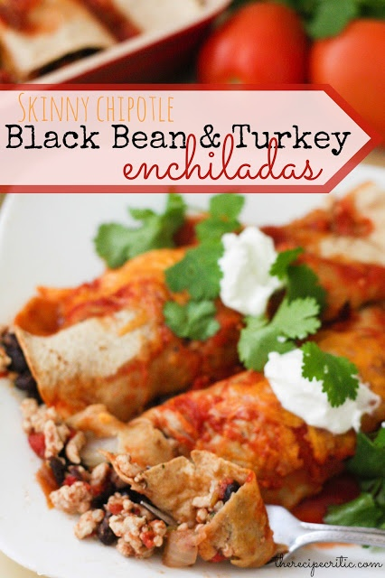 Skinny Chipotle Black Bean and Turkey Enchiladas at http ...