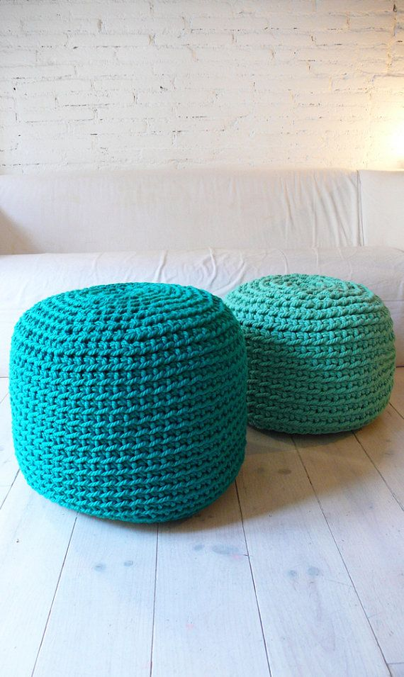 Pouf Crochet thick yarn - Emerald
