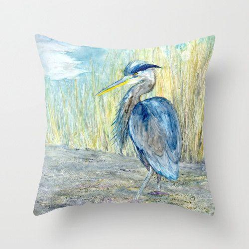 Blue Heron Throw Pillows : Decorative Pillow Cover - Great Blue Heron - Throw Pillow Cushion - F?