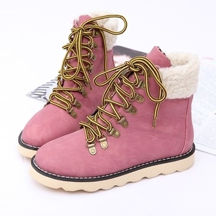 Womens snow shoes belt in front short boots XD-ST828-2 pink