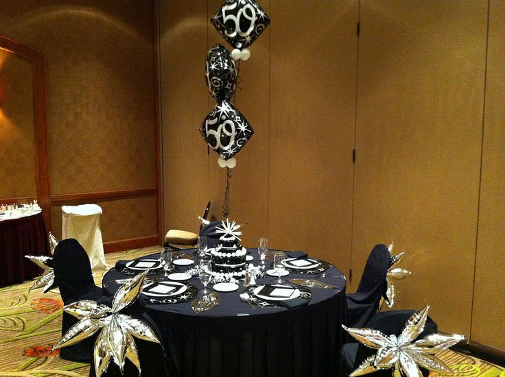 Silver black 50th birthday party decor 50th birthday for 50 birthday party decoration ideas