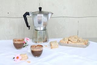 Vanilla bean shortbread and espresso with cinnamon-vanilla foam.