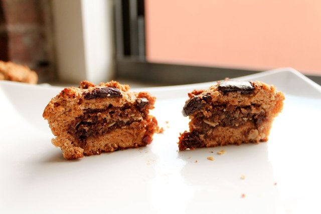 Oatmeal Raisin Cookie Stuffed Chocolate Chip Muffins
