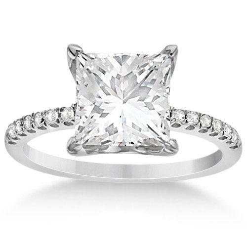 Princess Cut Moissanite  Diamond Engagement Ring 14K by Allurez,  ...