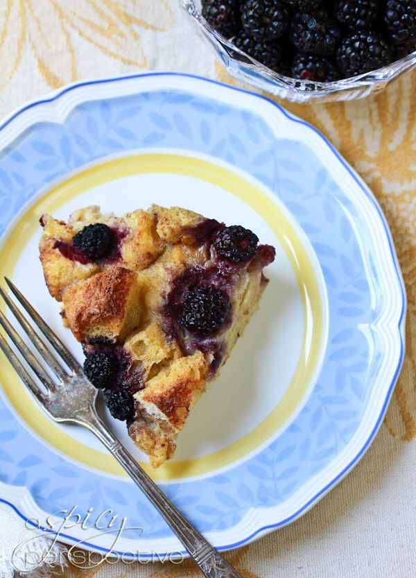 Old Fashioned Vanilla Bread Pudding With Blackberries ...