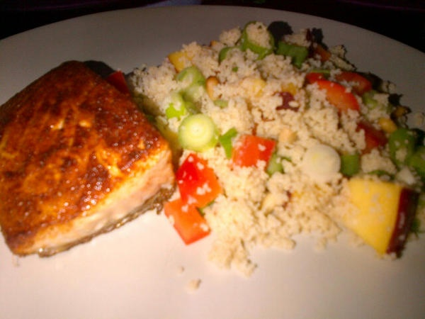 Moroccan-Spiced Salmon with Nectarine-Pine Nut Couscous by @ ...