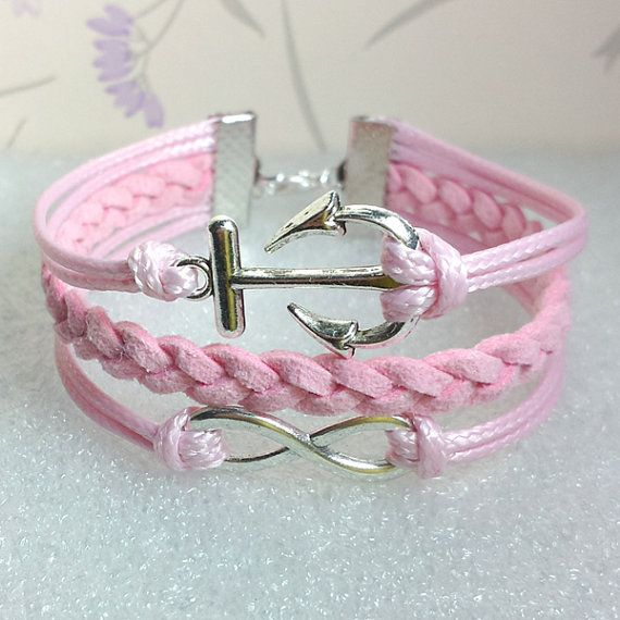 Infinity Bracelet-Love Bracelet, Pink Wax Cords and Pink braid bracelet.