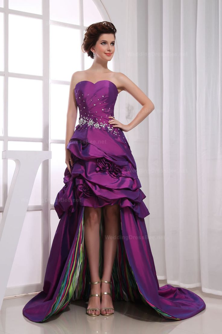 purple strapless prom dress