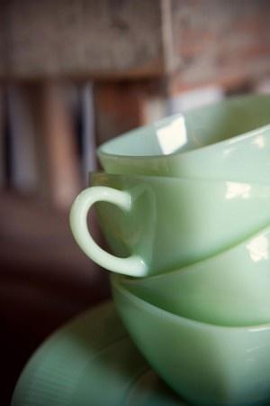 Jade green teacups.