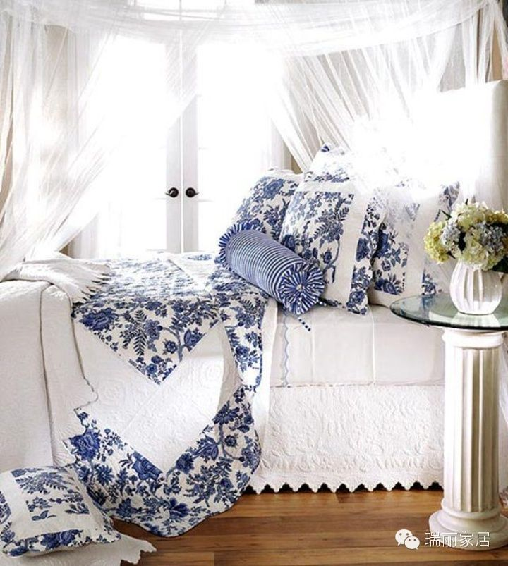 Blue And White Bed Bedding Bedroom Pinterest