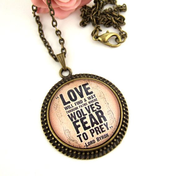 Literary Quote Necklace Love Quote Cameo Necklace Romantic Quote ...